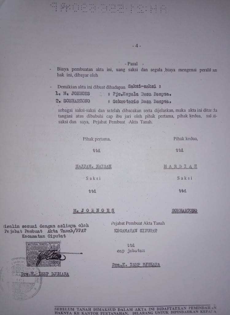 Telah Hilang Akta Hibah Nomor 1560 Ciputat 1998an